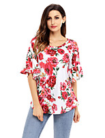 Women's Holiday Going out Cute Fall T-shirt,Floral Round Neck Half Sleeves Polyester Spandex