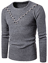 Men's Casual/Daily Work Vintage Regular Pullover,Solid Round Neck Long Sleeves Acrylic Winter Thin Stretchy