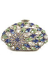 Women Bags Spring Summer Metal Evening Bag Crystal Detailing for Wedding Event/Party Blue