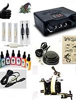 kits de tatouage pour débutants 1 x Machine à tatouer en acier pour le traçage et l'ombrage Source d'alimentation LED 5 x Aiguilles de