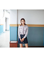 Camicia Da donna Per uscire Casual Sensuale Semplice Moda città Primavera Autunno,Monocolore Colletto Cotone Altro Manica lunga Sottile