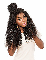 Women Human Hair Lace Wig Brazilian Remy 360 Frontal 180% 150% Density With Baby Hair With Ponytail Curly Wig Dark Brown Black Short