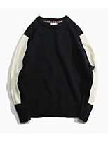 Men's Going out Regular Pullover,Color Block Round Neck Long Sleeves Others Winter Medium Micro-elastic