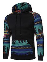 Men's Going out Casual/Daily Simple Hoodie Print Patchwork Hooded Micro-elastic Cotton Long Sleeve Spring Fall