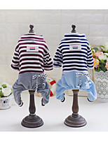Dog Clothes/Jumpsuit Dog Clothes Casual/Daily Stripe Blue Brown