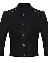 Women's Going out Casual/Daily Simple Street chic Spring Fall Leather Jacket,Solid Stand ¾ Sleeve Short Others