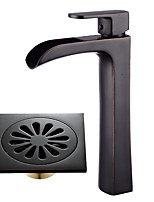 Neoclassical Centerset Widespread with  Ceramic Valve Single Handle One Hole for  Oil-rubbed Bronze , Bathroom Sink Faucet