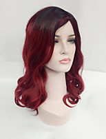 Women Synthetic Wig Capless Medium Length Wavy Black/Dark Wine Side Part Ombre Hair Dark Roots Natural Wigs Costume Wig