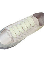 Women's Shoes Fabric Spring Fall Comfort Light Soles Sneakers Flat Heel Round Toe Lace-up For Casual Champagne White