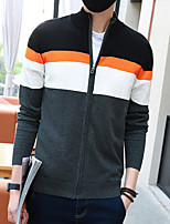 Men's Casual/Daily Regular Cardigan,Color Block Stand Long Sleeves Others Spring Medium Micro-elastic