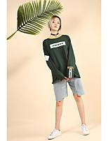 T-shirt Da donna Per eventi Casual Semplice Moda città Attivo Primavera Autunno,A strisce Fantasia geometrica Rotonda Cotone Manica lunga