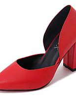 Femme Chaussures Polyuréthane Printemps Automne Escarpin Basique Chaussures à Talons Gros Talon Bout rond Pour Habillé Blanc Noir Rouge