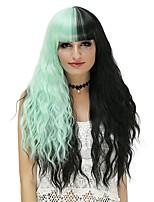 Donna Parrucche sintetiche Senza tappo Lungo Onda effetto mare Nero - verde Parrucca di Halloween costumi parrucche