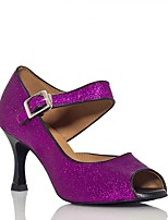 Women's Latin Sparkling Glitter Sandal Performance Buckle Stiletto Heel Blue Purple Black 3