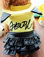 Dog Dress Dog Clothes Casual/Daily Letter & Number Blushing Pink Yellow