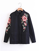 Women's Going out Casual/Daily Simple Street chic Spring Fall Denim Jacket,Solid Print Shirt Collar Long Sleeve Regular Cotton Others
