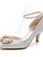 Women's Shoes Glitter Spring Fall Basic Pump Ankle Strap Wedding Shoes Cone Heel Pointed Toe Rhinestone Crystal For Wedding Party &