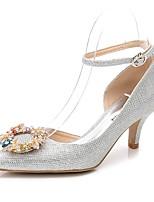 Damen Schuhe Glanz Frühling Herbst Pumps Knöchelriemen Hochzeit Schuhe Konischer Absatz Spitze Zehe Strass Kristall Für Hochzeit Party &