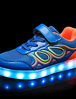 Boys' Shoes Synthetic Microfiber PU Spring Fall Light Up Shoes Comfort Sneakers Lace-up For Casual Party & Evening Royal Blue Black