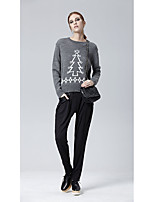 HEART SOUL Women's Casual/Daily Work Vintage Simple Street chic Regular Pullover,Print Round Neck Long Sleeves Acrylic Fall Winter Medium