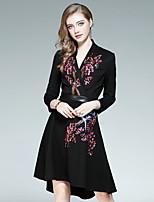 Для женщин На выход На каждый день Уличный стиль Оболочка Платье Вышивка,V-образный вырез До колена Длинный рукав Хлопок Полиэстер Осень