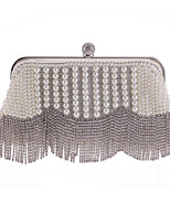 Women Bags All Seasons Polyester Evening Bag with Crystal Detailing Pearl Detailing for Wedding Event/Party White
