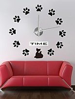 Modern/Contemporary Country Casual Office/Business Others Classic Theme Romance Abstract Wall Clock,Circular Cat EVA Stainless steel