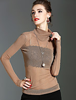 Langærmet Rullekrave Gennemsigtig Damer Ensfarvet Forår Efterår Sexet Gade Sofistikerede Ferie I-byen-tøj T-shirt,Nylon