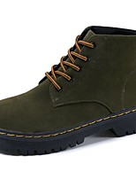 Women's Shoes Suede Fall Combat Boots Boots Flat Heel Round Toe Lace-up For Casual Dark Green Black