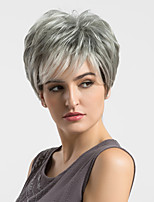 Women Human Hair Capless Wigs Grey Straight Highlighted/Balayage Hair