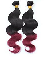 vierge Cheveux Brésiliens A Ombre Ondulation naturelle Extensions de cheveux 2 noir Bordeaux / Foncé