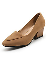 Women's Shoes Suede Spring Fall Comfort Novelty Heels Chunky Heel Pointed Toe Split Joint For Office & Career Dress Khaki Gray Black