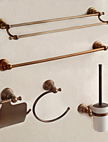 Bathroom Accessory Set Towel Bar Towel Ring Toilet Paper Holder Toilet Brush Holder Towel Warmer / Antique Brass Classical