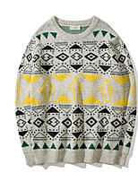 Men's Casual/Daily Regular Pullover,Print Round Neck Long Sleeves Cotton Fall Medium Micro-elastic