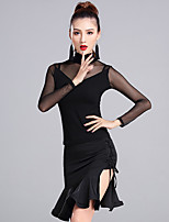 Latin Dance Outfits Women's Performance Modal Tulle Milk Fiber Pleated 2 Pieces Long Sleeve Natural Skirts Tops
