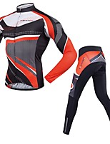 Realtoo Cycling Jersey with Tights Men's Long Sleeves Bike Clothing Suits Quick Dry Breathability 3D Pad Stretchy Spandex 100% Polyester