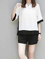 Women's Casual/Daily Simple Summer T-shirt Pant Suits,Color Block Round Neck Short Sleeve