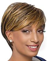 Women Human Hair Capless Wigs Chestnut Brown/Medium Auburn Short Straight Side Part