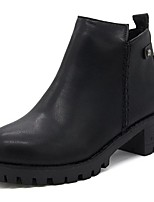 Women's Shoes PU Fall Combat Boots Boots Chunky Heel Round Toe Zipper For Casual Gray Black