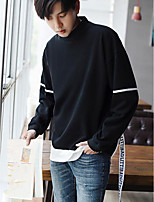 Men's Going out Sweatshirt Letter Round Neck Micro-elastic Cotton Long Sleeve Fall