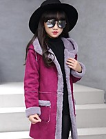 Girls' Solid Patchwork Jacket & Coat,PU Rayon Polyester Fall Winter Long Sleeve