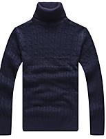 Men's Casual/Daily Regular Pullover,Solid Turtleneck Long Sleeves Cotton Winter Medium Micro-elastic