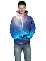 Men's Sports Outdoor Casual/Daily Active Hoodie 3D Print Hooded Inelastic Polyester Spandex Long Sleeve Spring Fall
