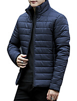 Men's Regular Down Coat,Simple Casual/Daily Solid-Polyester Polypropylene Long Sleeves