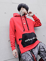 Men's Casual/Daily Hoodie Color Block Hooded Micro-elastic Cotton Polyester Long Sleeve Fall