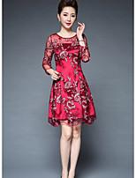 Damen Hülle Kleid-Ausgehen Druck Rundhalsausschnitt Übers Knie Langarm Polyester Herbst Mittlere Hüfthöhe Mikro-elastisch Mittel