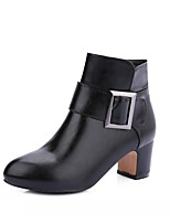 Women's Shoes Leatherette Fall Winter Comfort Novelty Bootie Boots Chunky Heel Round Toe Booties/Ankle Boots With Buckle For Casual