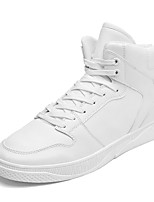 Men's Shoes Leatherette Spring Fall Comfort Sneakers Lace-up For Casual Outdoor Black White