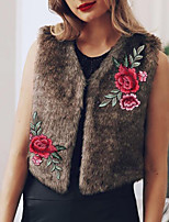 Women's Wrap Vests Faux Fur Wedding Party/ Evening Embroidery