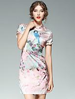 Fodero Vestito Da donna-Per uscire Casual Moda città Fantasia floreale Animal Colletto alla coreana Sopra il ginocchio Manica corta